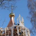 Установка и освящение креста на куполе колокольни